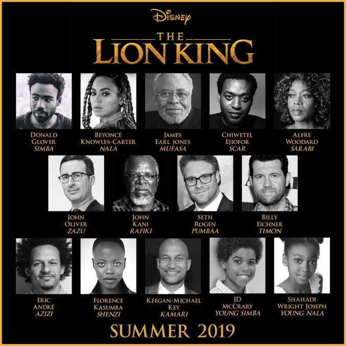 lion king live action movie 2019 full cast remake beyonce seth rogen john oliver